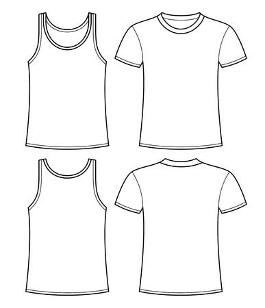 Singlet en T-shirt sjabloon - voor-en achterkant Stock Illustratie