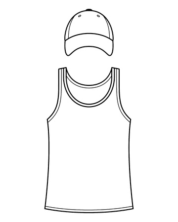 white singlet: Singlet and cap template