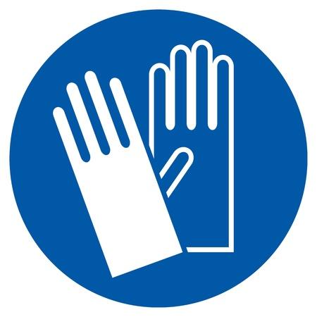 Porter des gants - Connexion de sécurité, panneau d'avertissement Banque d'images - 20314226
