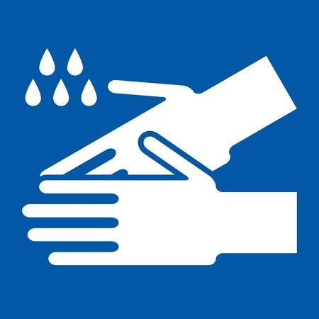 danger chimique: Se laver les mains signe sur fond bleu