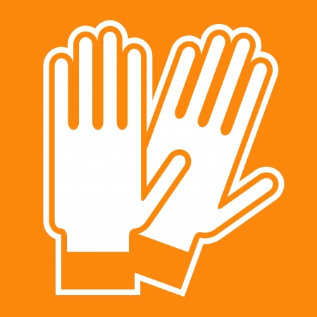 Gloves sign on orange background Vector