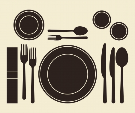 Place setting on light background Vector