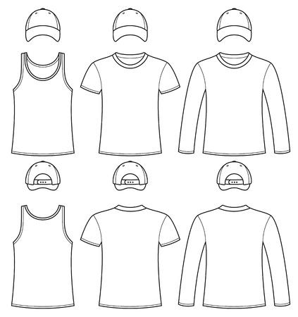 tshirt template: Singlet, T-shirt, Long-sleeved T-shirt and Cap template