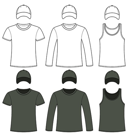 Singlet, T-shirt, Long-sleeved T-shirt and Cap template in black and white Vector
