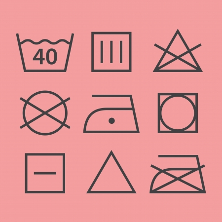 cleaning cloth: Washing symbols Illustration