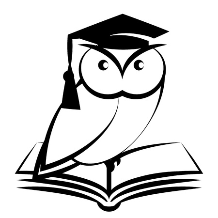 master page: Owl with college hat and book - symbol of wisdom isolated on white background