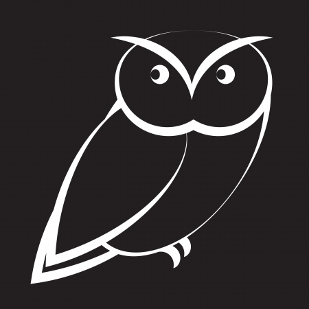owl symbol: Cartoon owl in black and white