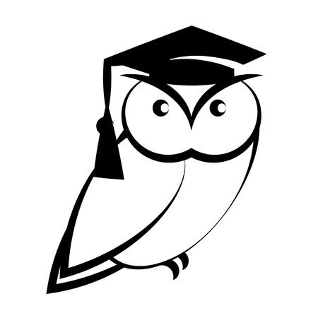 buho graduacion: B�ho con sombrero universidad - s�mbolo de la sabidur�a aislado en fondo blanco