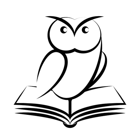 black beak: Cartoon of owl and book - symbol of wisdom isolated on white background