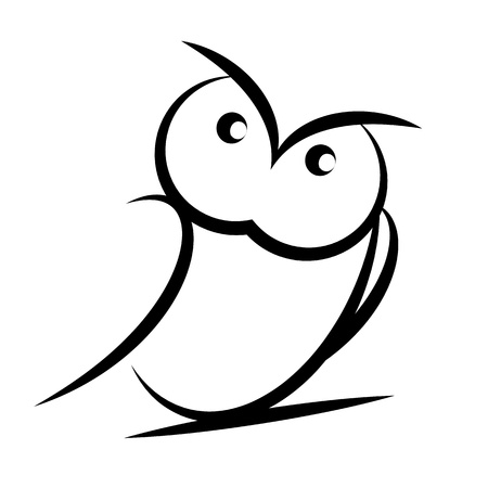 bird of prey: Cartoon owl  izolated on white background Illustration