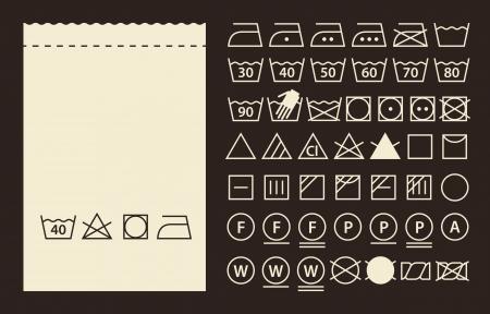 istruzione: Etichetta tessile e simboli di lavaggio (icone di lavanderia)