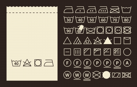 Textile label and washing symbols (laundry icons)  Vector