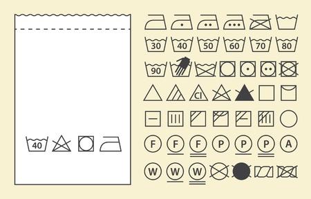 Modèle d'étiquette textile et les symboles de lavage (icônes de lessive)