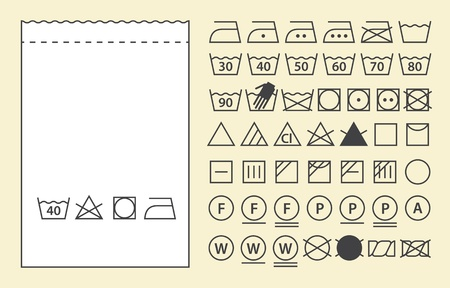 Textile label template and washing symbols (laundry icons)  Vector