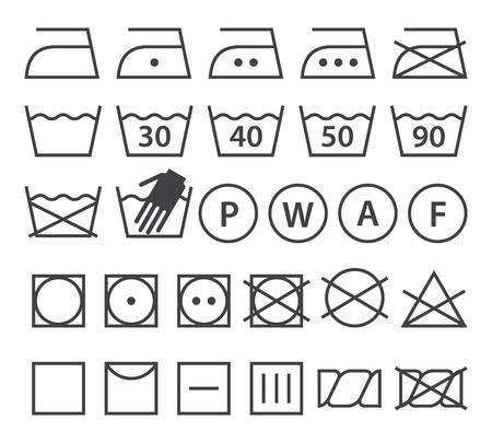 istruzione: Set di simboli di lavaggio (icone lavanderia) isolato su sfondo bianco Vettoriali