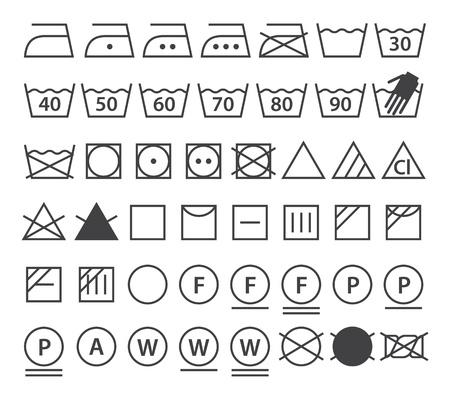 lejia: Conjunto de s�mbolos de lavado (iconos de lavander�a), aislados en fondo blanco Vectores