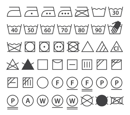 Textile Care Labels And Laundry Washing Symbols Set Royalty Free