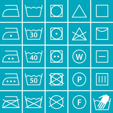 tumble drying: Set of washing symbols (Laundry icons) on blue background