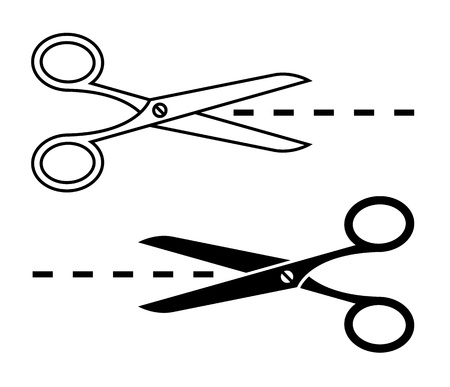 scissors cutting: Vector scissors with cut lines  Set of cutting scissors
