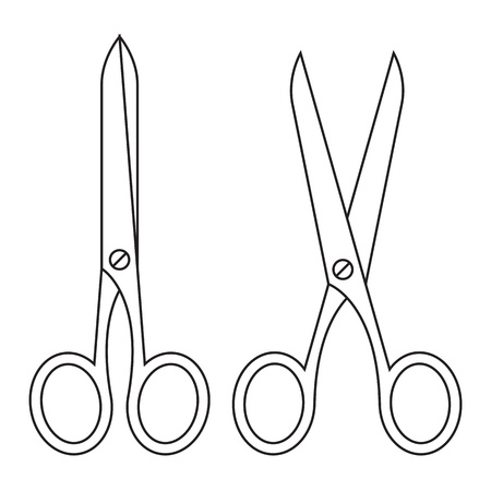 haircutting scissors: Open and closed scissors isolated on a white background