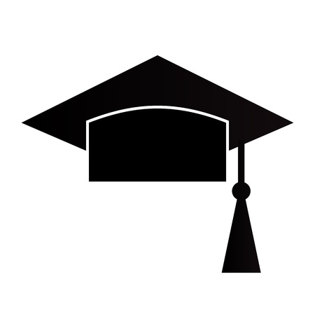 Mortar Board or Graduation Cap isolated on a white background Vector