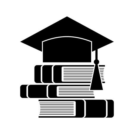 Vieren afstuderen hoed en boeken, Onderwijs symbool