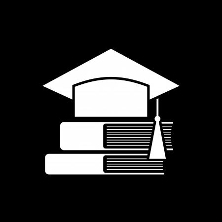 mortar board: Mortar Board or Graduation Cap and books  Education symbol Illustration