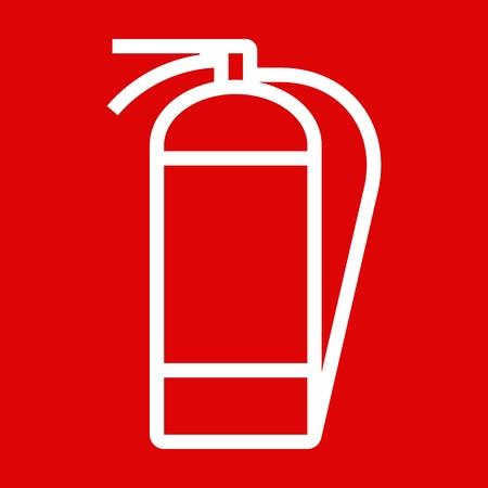 fire extinguisher: Fire extinguisher sign on red background Illustration