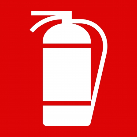 Fire extinguisher sign on red background Illustration