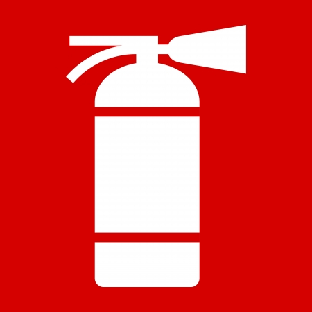 firealarm: Fire extinguisher sign on red background Illustration