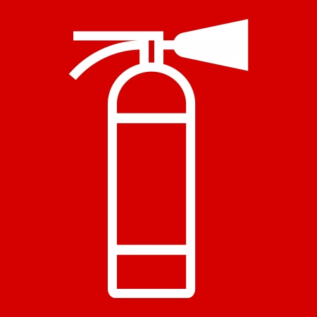 disaster prevention: Fire extinguisher sign on red background Illustration