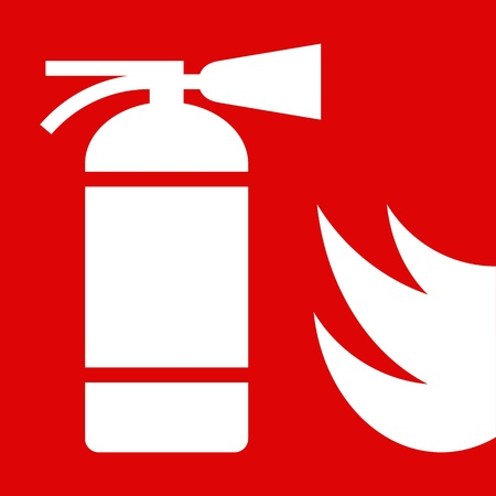 suppression: Fire extinguisher sign on red background Illustration