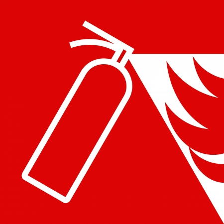 Fire extinguisher sign on red background Vector
