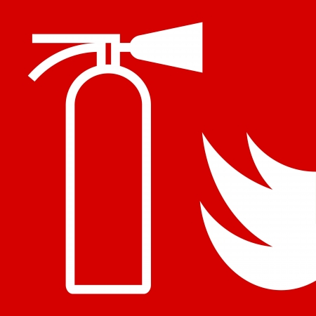 fire safety: Fire extinguisher sign on red background Illustration