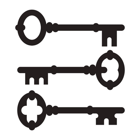 Old key silhouette set isolated on white background