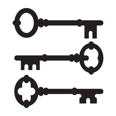 oude sleutel: Oude sleutel silhouette set geïsoleerd op een witte achtergrond Stock Illustratie