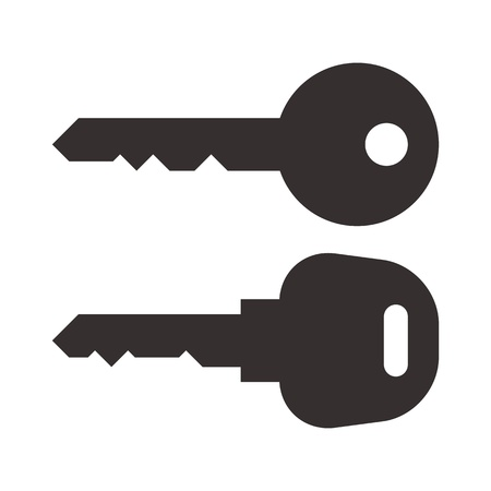 closed door: Key and car key symbols isolated on white background