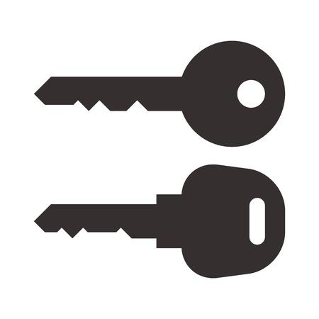 Key and car key symbols isolated on white background