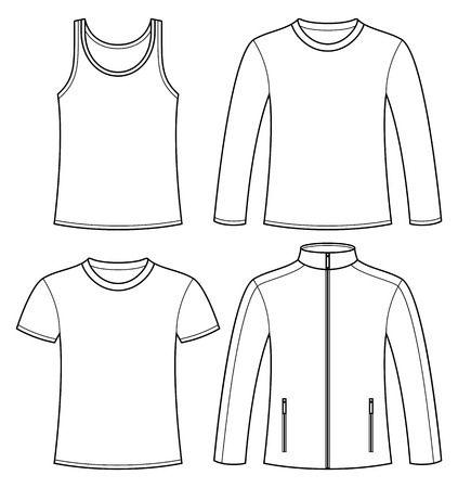 t shirt blouse: Singlet, T-shirt, Long-sleeved T-shirt and Jacket template isolated on white background Illustration