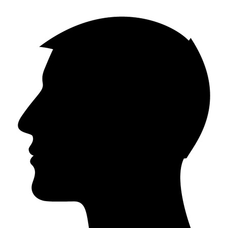 Man Head Silhouette isolated on white background Illustration