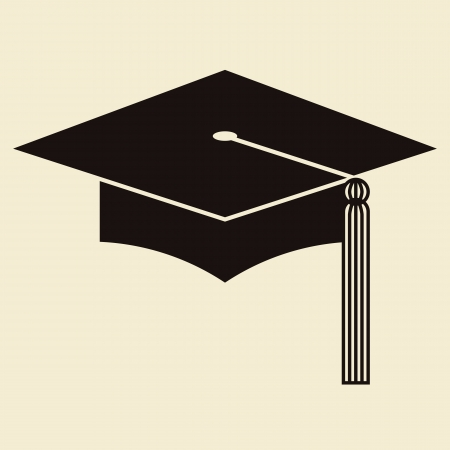 big hat: Mortar Board or Graduation Hat, Education symbol Illustration