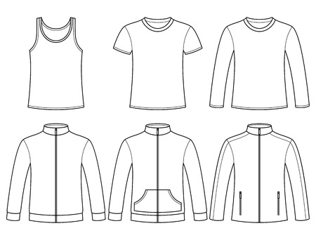 Singlet, T-shirt, Long-sleeved T-shirt, Sweatshirts and Jacket template isolated on white background Vector