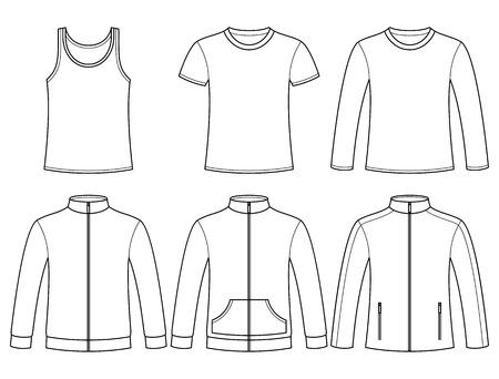 sudadera: Singlete, T-shirt, camiseta de manga larga, sudaderas y plantilla chaqueta aislados sobre fondo blanco Vectores