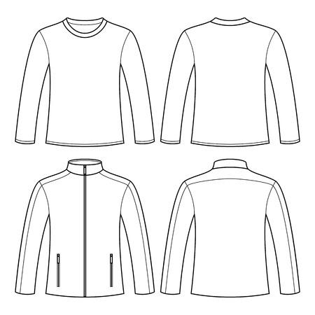 ジャケット、白い背景で隔離長袖 t シャツ