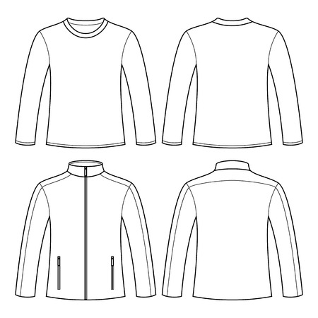 Jacket and Long-sleeved T-shirt isolated on white background