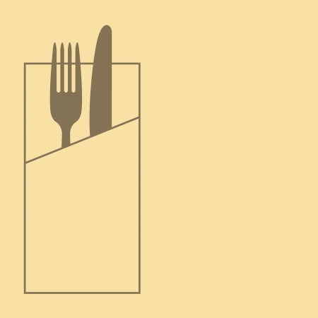 Restaurant menu design with knife, fork and napkin