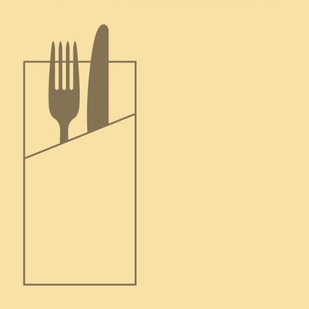 Restaurant menu design with knife, fork and napkin
