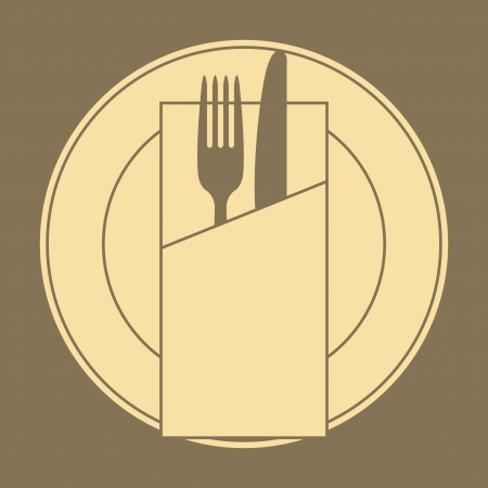 place setting: Restaurant menu design with knife, fork, plate and napkin  Illustration