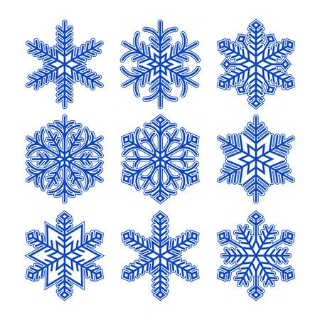 snow flakes: Sneeuwvlokken op een witte achtergrond