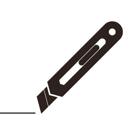 ユーティリティ ナイフで孤立した白い背景に署名します。